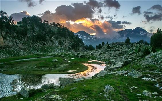 Wallpaper Mountains, rocks, river, sunset, clouds