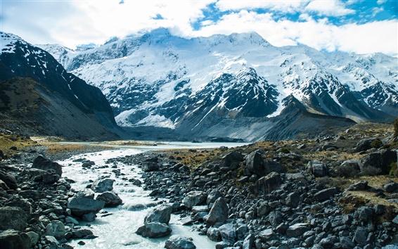 Fond d'écran Montagnes, neige, ruisseau, rochers, nuages