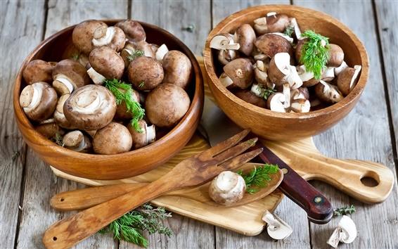 Wallpaper Mushrooms, bowls, knife, food