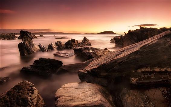Wallpaper Ocean, sea, rocks, sunrise, dawn