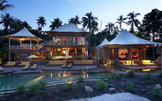 Fond d'écran Palmiers, maison, bungalow, piscine, chambre, chaises longues, la nuit, les lumières