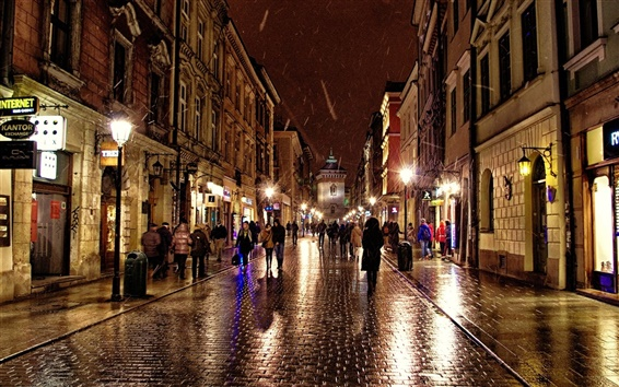 Wallpaper Poland, Krakow, city street, people, shops, lights, night