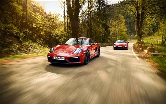 壁纸 保时捷911和991红色超级跑车,速度,路