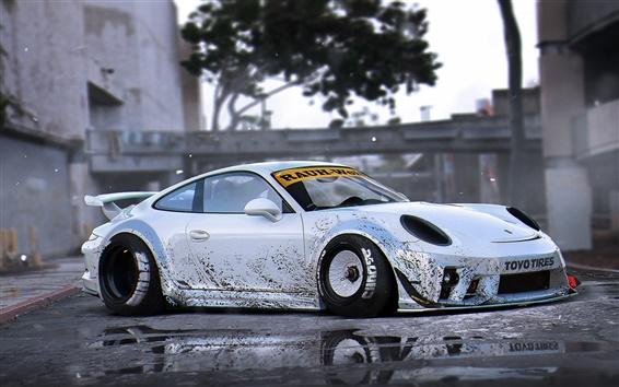 Wallpaper Porsche 911 silver supercar side view