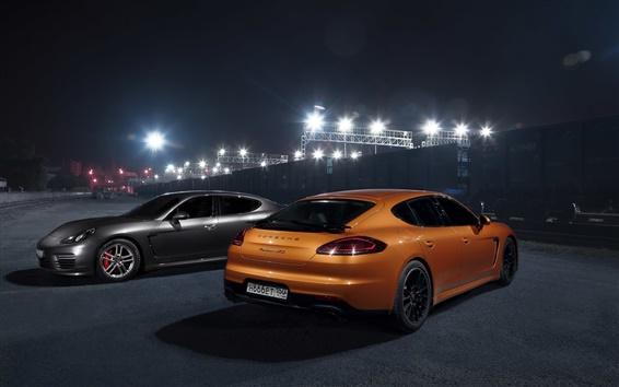 Обои Porsche Panamera GTS оранжевый и серый суперкары