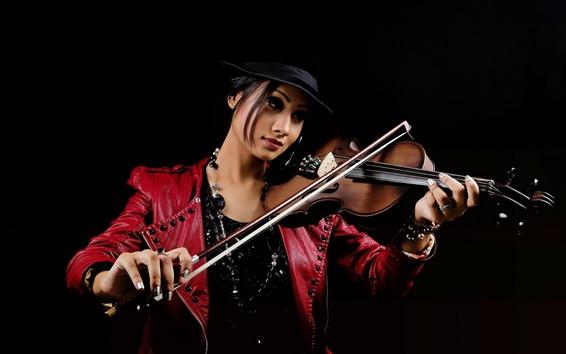 Wallpaper Red dress Asian girl, violin, music, black background