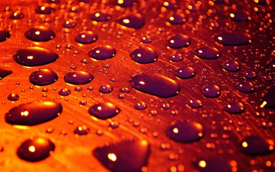 Обои Красный стиль, поверхность, капли воды, дождя, макросъемки