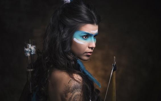 Wallpaper Retro style girl, blue paint makeup, bow