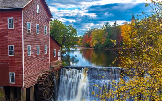 Wallpaper River, trees, autumn, waterfalls, house, water mill