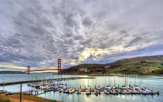 Wallpaper Sailboats, yachts, bay, clouds, San Francisco, USA