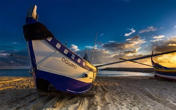 Wallpaper Sea, beach, boats, sunset