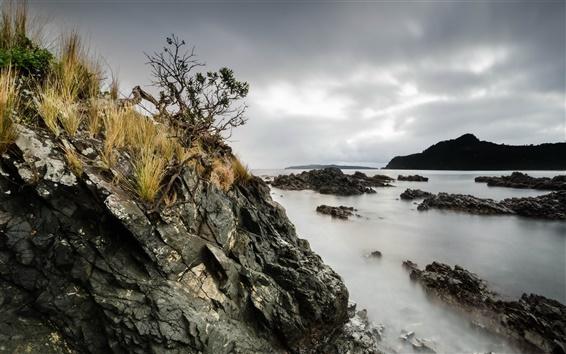 Papéis de Parede Mar, rochas, nuvens, crepúsculo