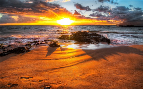 Wallpaper Sea, waves, beach, rocks, stones, clouds, sunrise, shadow