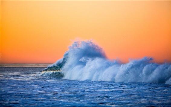 배경 화면 바다, 파도, 밝아진, 황혼