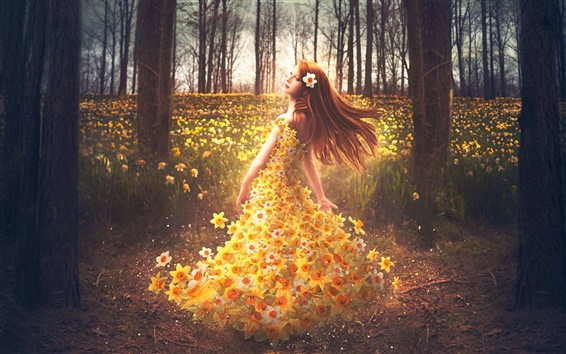 Wallpaper Shelby Robinson, flowers dress girl, daffodils, creative design