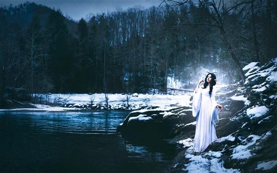 Wallpaper Shelby Robinson, white dress girl, deer, stream, winter, creative