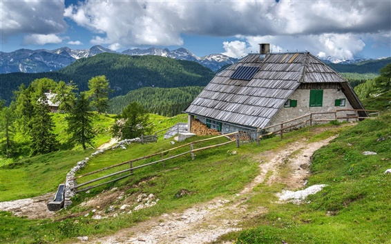 Wallpaper Slovenia, Bohinj, house, mountains, clouds, forest, fence, path