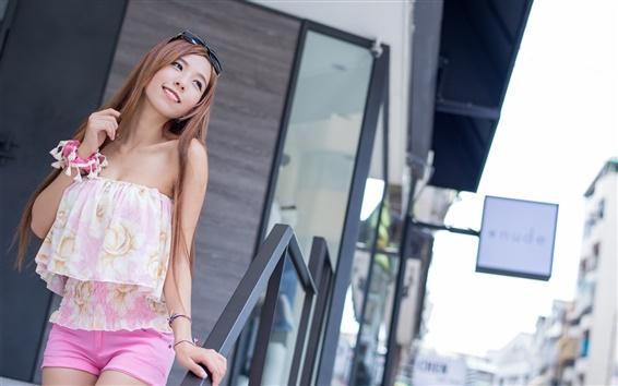 Fond d'écran Sourire fille asiatique, le visage, les cheveux, l'été