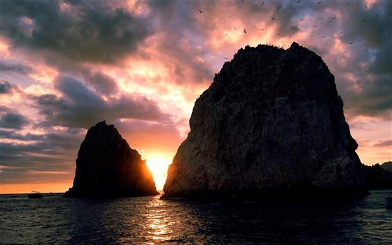 Wallpaper Sunset, sea, coast, island, sky, clouds, cliff, birds