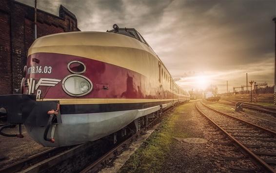 Papéis de Parede Trem, estação, nuvens, pôr do sol