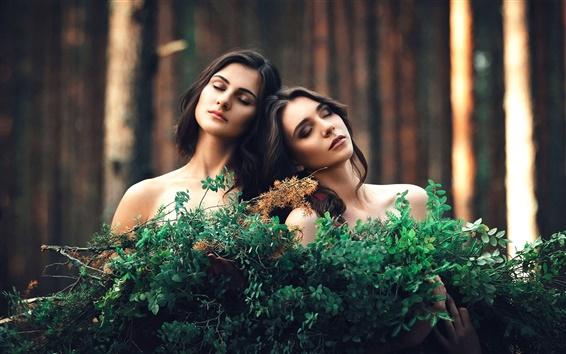 Wallpaper Two girls, twigs, girlfriend