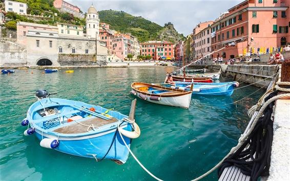 Fond d'écran Vernazza, Italie, Cinque Terre, sur la côte ligure, dock, bateaux, maison