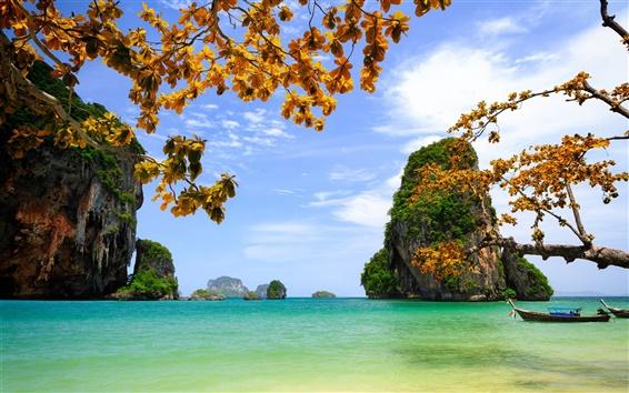 Wallpaper Vietnam, beautiful scenery, sea, rocks, islands, trees, leaves, boats