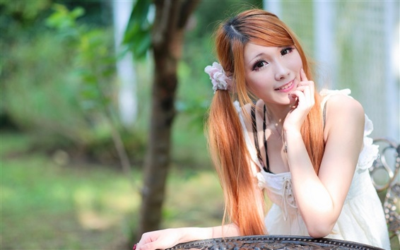 Wallpaper Young pure girl, asian, red hair