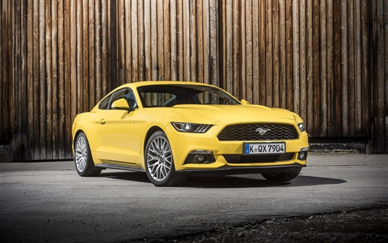Fond d'écran 2015 Ford Mustang GT UE-spec voiture jaune