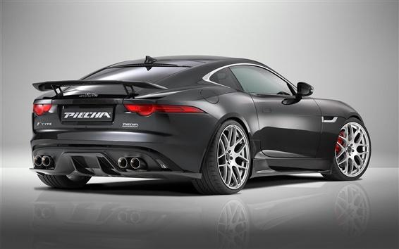 Wallpaper 2015 Jaguar F-Type R Coupe, black supercar rear view