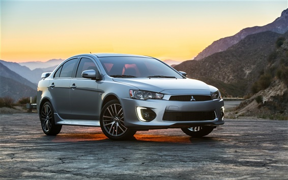 Wallpaper 2015 Mitsubishi Lancer silver car