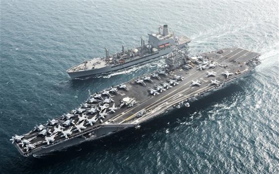 Wallpaper Aircraft carrier, USS Harry S. Truman CVN 75, sea, aircraft