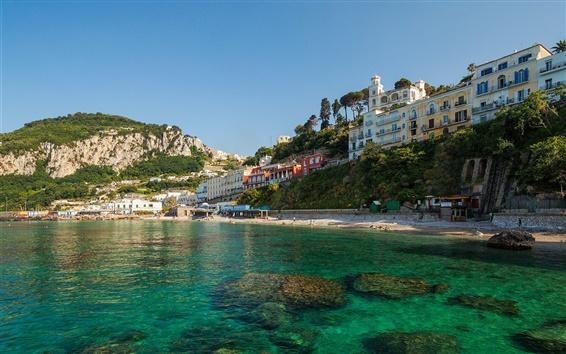 Wallpaper Anacapri, Capri, Italy, city, island, coast, sea, rocks, houses