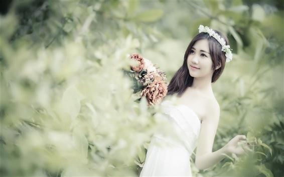 Papéis de Parede A menina asiática, flores, grinalda