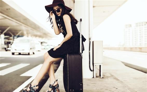Wallpaper Asian girl, sunglass, suitcase, roadside