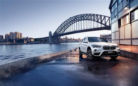 Wallpaper BMW X1 F48 white car, bridge, river, dusk