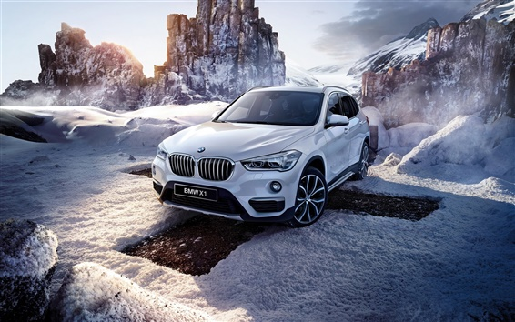 Обои BMW X1 F48 белый автомобиль, зима, снег