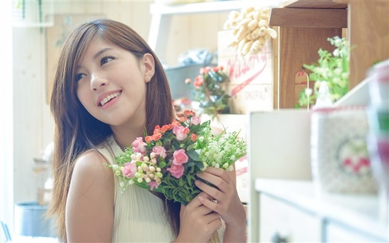Wallpaper Beautiful Asian girl, holding flowers