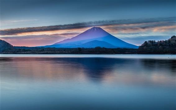 Обои Красивая Япония природа пейзаж, гора Фудзи, озеро, облака, рассвет