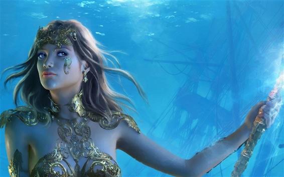 Обои Красивая девушка фантазии, под водой, копье, хрусталь, ювелирные изделия