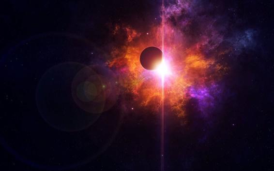 壁紙 美しい空間、惑星、赤と紫の光、星