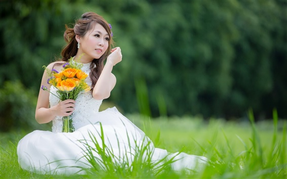 Wallpaper Beautiful white dress girl, Asian, bride, flowers, grass
