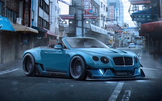 Обои Bentley Continental GT синий суперкар