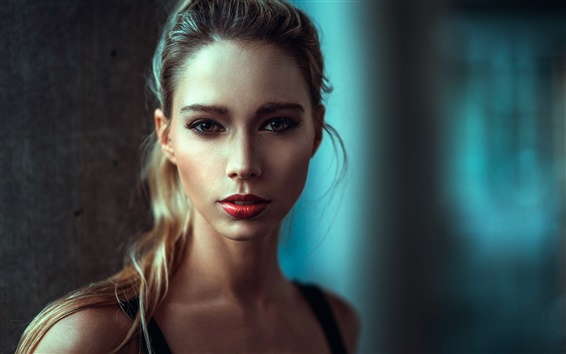 Wallpaper Blonde girl, makeup, portrait, red lip