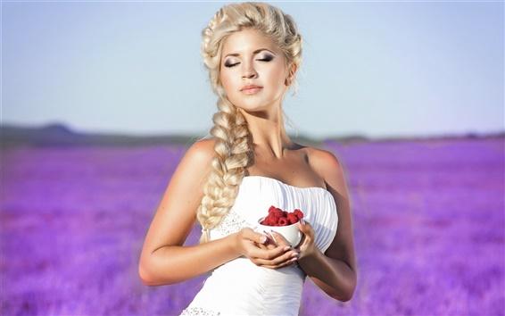 Wallpaper Blonde girl, white dress, hands, red raspberry