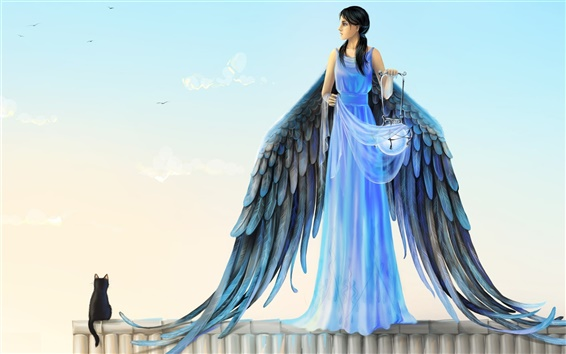Fond d'écran Robe bleue ange, ailes, lanterne, chat, Joya Filomena art design