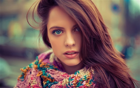 Wallpaper Blue eyes beautiful girl, face, hair, sweater