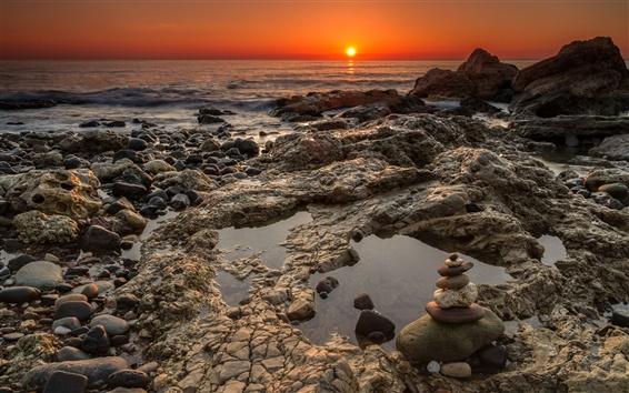 Wallpaper Chemical Beach, Seaham, rocks, coast, sea, sunrise, England