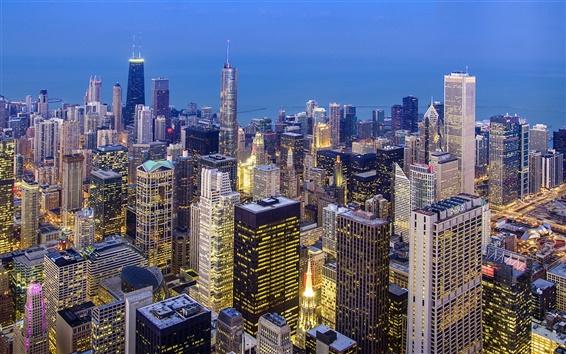 Fondos de pantalla Chicago vista a la ciudad superior, Illinois, EE.UU., por la noche, los rascacielos, luces