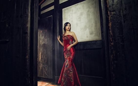 Fond d'écran fille chinoise, belle cheongsam